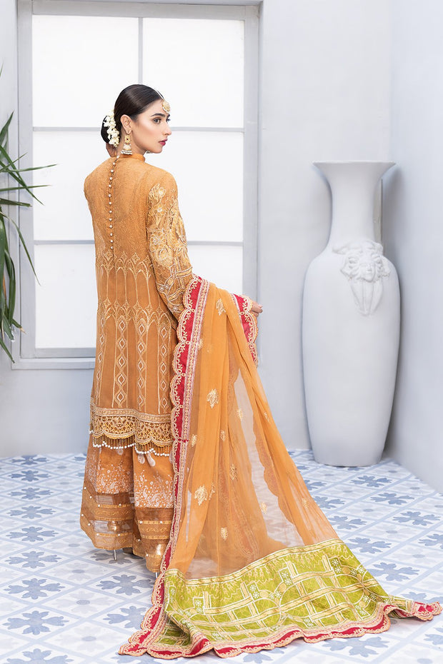 Mehndi Festive Chiffon Suit in Mustard Color Backside Look