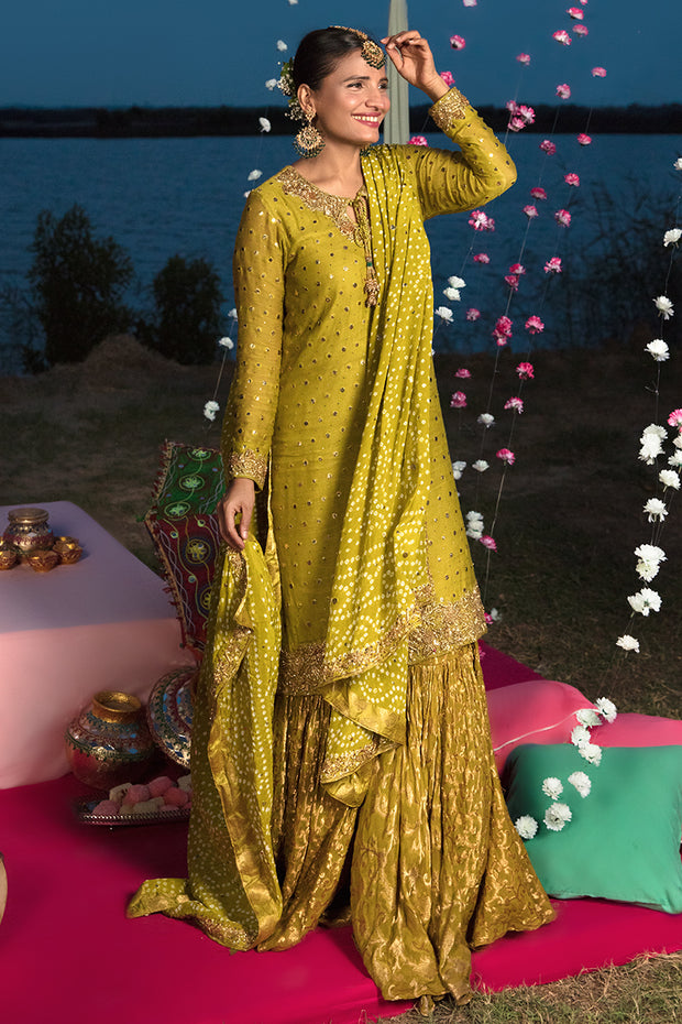 Mehndi Party Traditional Dress in Mustard Color