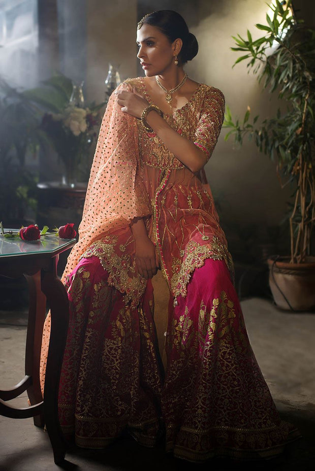 Beautiful designer mehndi dress embroidered in gold pink color # B3417