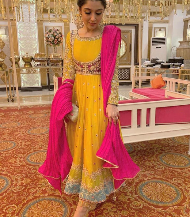 Latest Stylish Anarkali Frock For Mehndi