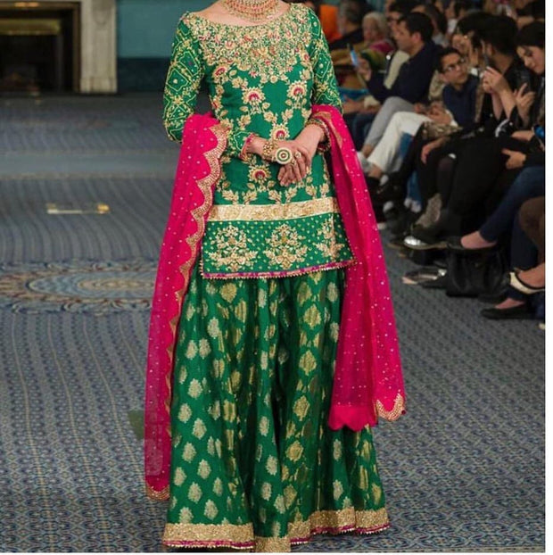 Traditional Mehndi Lehenga in Dark green