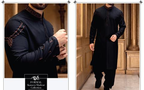 Men's Black color Festive Attire with Shoulder Embroidery