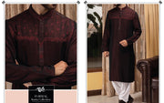 Mens Dark Maroon Designer Kurta with White Shahlwar