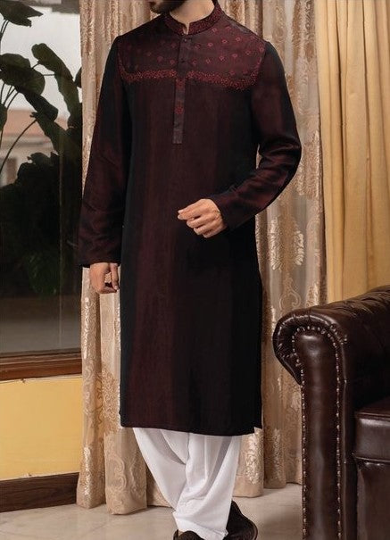 Mens Designer Kurta in Dark Maroon with White Shahlwar -Men13