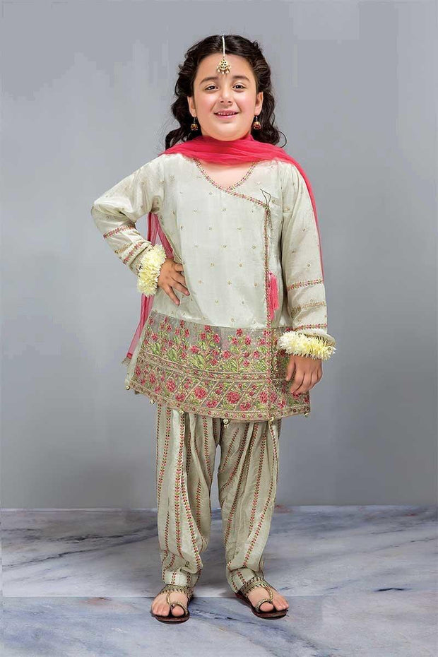 Modest Formal Designer Ankgraha Style Shirt with Shalwar for Kids