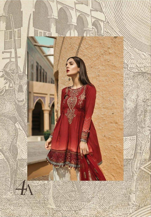 Modest Indian Style Lawn Designer Frock Dress  Net Dupatta