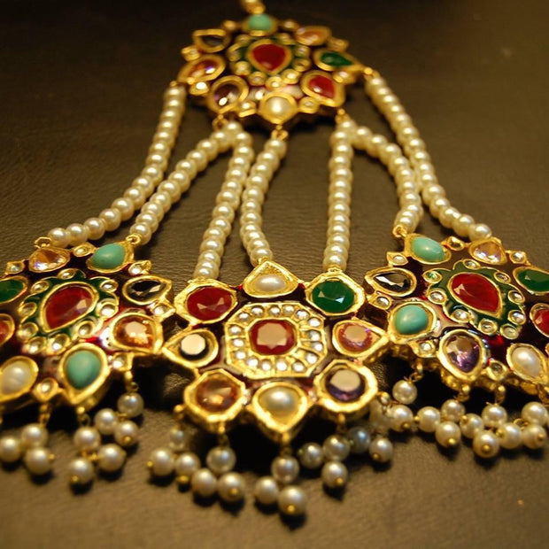 Multi Kundan Jhumar Tikka for Head