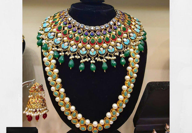 Multi Kundan Stones Necklace with Mala Set