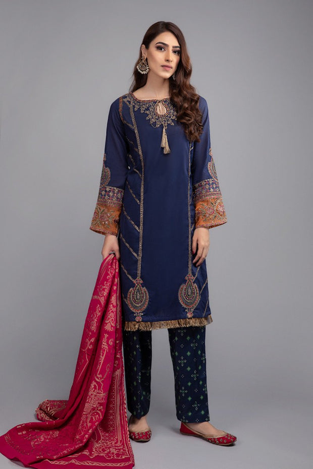 Navy Blue Lawn Eid Wear with Embroidery