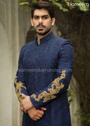 Navy Blue Sherwani for Groom with Dabka Embroidery