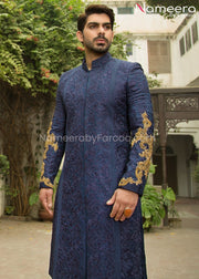 Navy Blue Sherwani for Groom with Dabka Embroidery Front Look