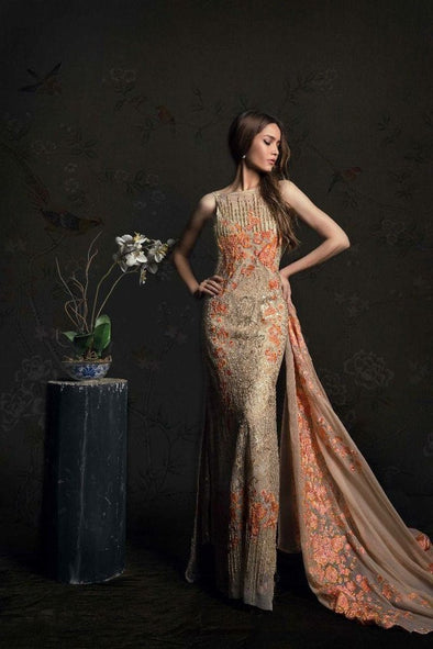 Net Chiffon Thread work Rust Orange Dress by Sana Safinaz