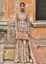 Latest net embroidered peshwaz for wedding wear in tea pink color