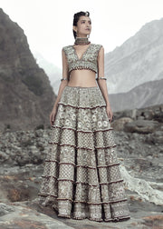 Latest net embroidered skirt dress in grey color for wedding wear # B3412