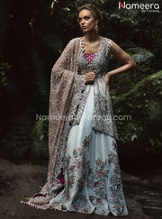 Open Shirt Kameez Sharara Dress for Wedding