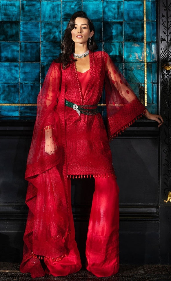 Red coloured stylish girl dress Pakistani1