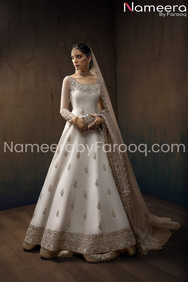 Pakistani Anarkali White Frock with Embroidery
