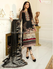 Pakistani Black Net Dress Online for Party 2021 Neckline Embroidery