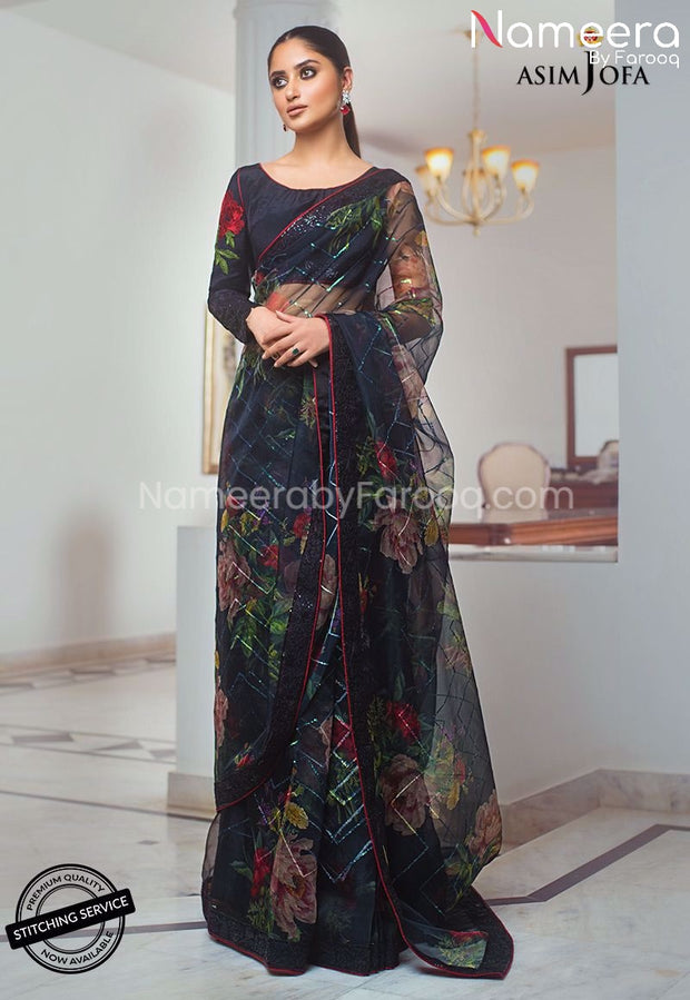 Pakistani Black Saree for Wedding Party Online