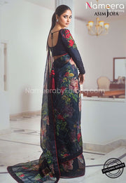 Pakistani Black Saree for Wedding Party Online Backside Look