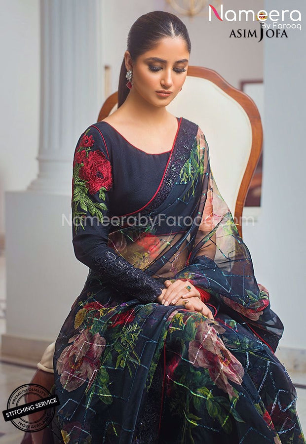 Pakistani Black Saree for Wedding Party Online Sleeves Embroidery