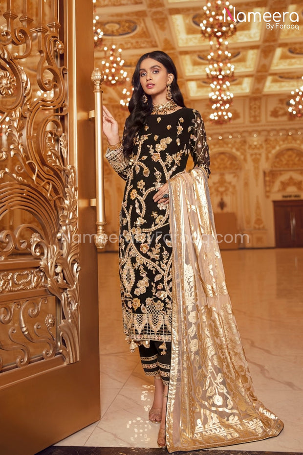 Pakistani Black Sequin Party Dress for Women Front Look