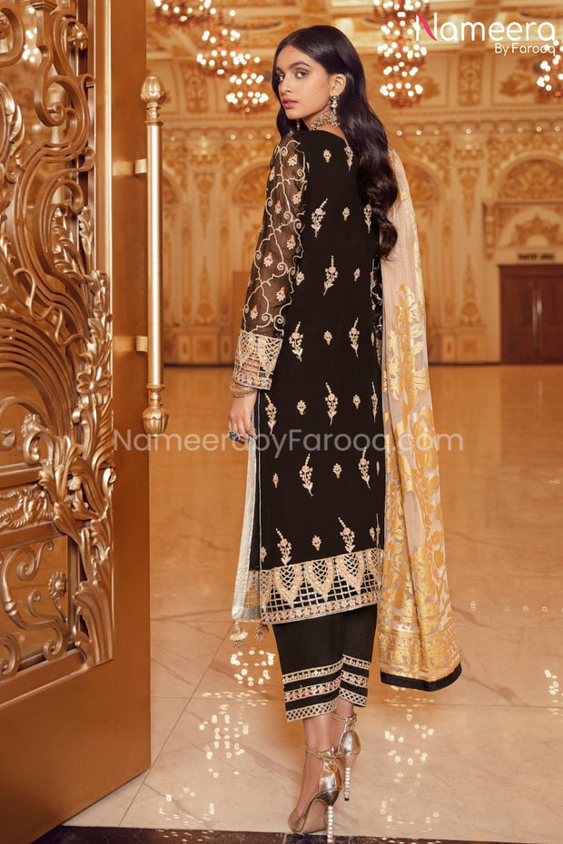 Pakistani Black Sequin Party Dress for Women  Backside Look
