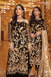 Pakistani Black Sequin Party Dress for Women