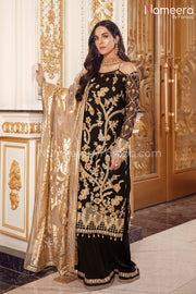 Pakistani Black Sequin Party Dress for Women  Sleeves Look