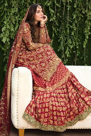 Pakistani Bridal Farshi Gharara in Red Color Side Pose