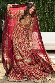 Pakistani Bridal Farshi Gharara in Red Color