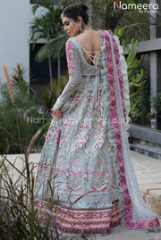 Pakistani Bridal Frock with Banarasi Lehenga