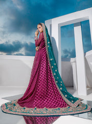 Pakistani Bridal Heavy Wear 2020 in Magenta Color Backside Look