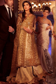 Pakistani Bridal Lehnga Shirt in Ivory Color #N7094