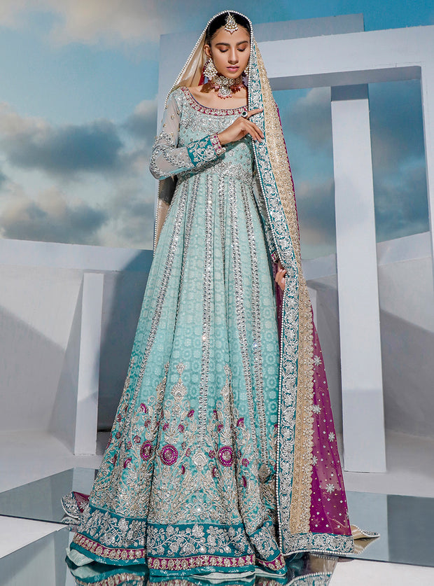 Pakistani Bridal Long Maxi 2020 in Turquoise Color