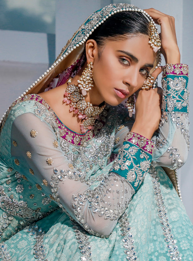 Pakistani Bridal Long Maxi 2020 in Turquoise Color Close Up