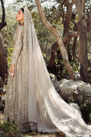 akistani Bridal Maxi in Ivory Color Backside Look