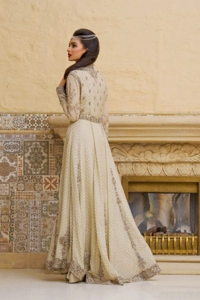 Pakistani Bridal Maxi In White Off White Color Nameera By Farooq,Wedding Venue Bridal Dressing Room