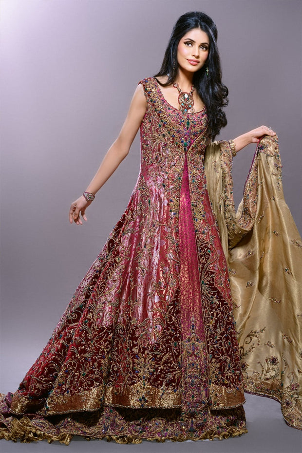 Pakistani Bridal Open Style Maxi in Pink Color