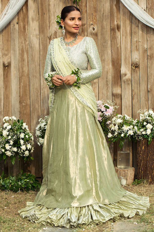 Pakistani Bridal Raw Silk Lehnga for Wedding