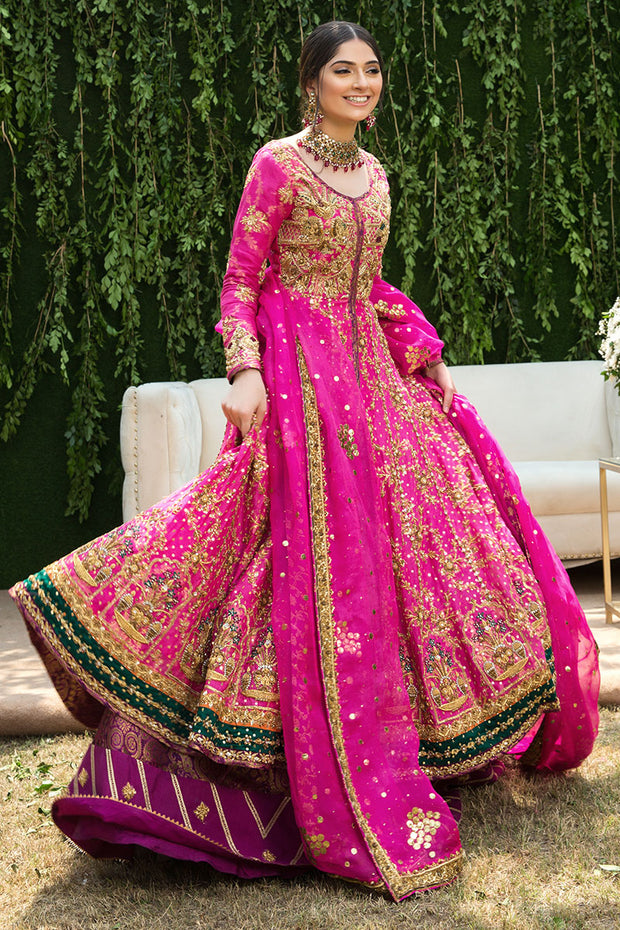 Pakistani Bridal Walima Frock in Pink Color
