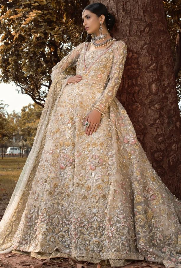 Pakistani Bridal Walima Outfit In Off White Color Nameera By Farooq,Wedding Venue Bridal Dressing Room
