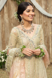 Pakistani Bridal Wedding Frock in Ivory Color