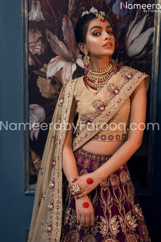 Pakistani Bridal Wedding Wear With Embroidery Close up View