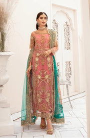 Pakistani Festive Chiffon Wear in Peachy Pink Color