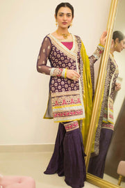 Pakistani Chiffon Festive Gharara in Purple Color