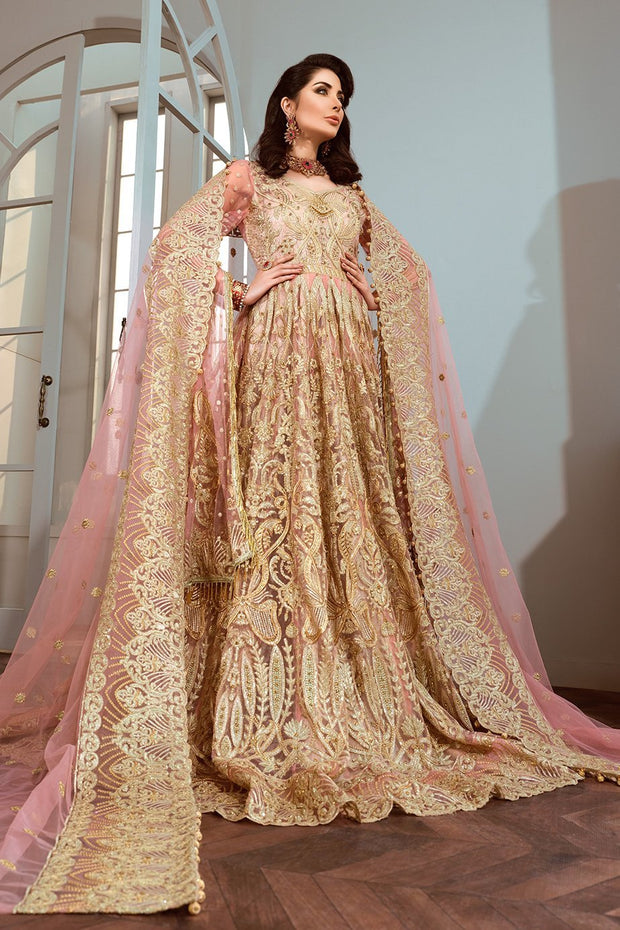 Pakistani Chiffon Frock for Party in Pink Color
