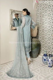 Pakistani Chiffon Shirt Dress with Choridar Pajama Backside Embroidery