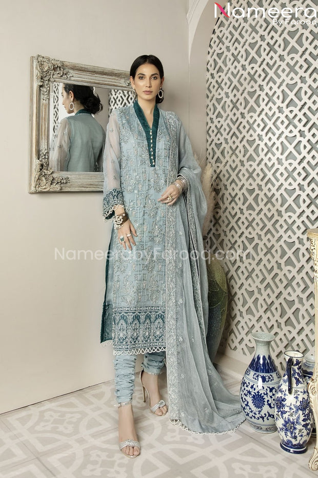 Pakistani Chiffon Shirt Dress with Choridar Pajama