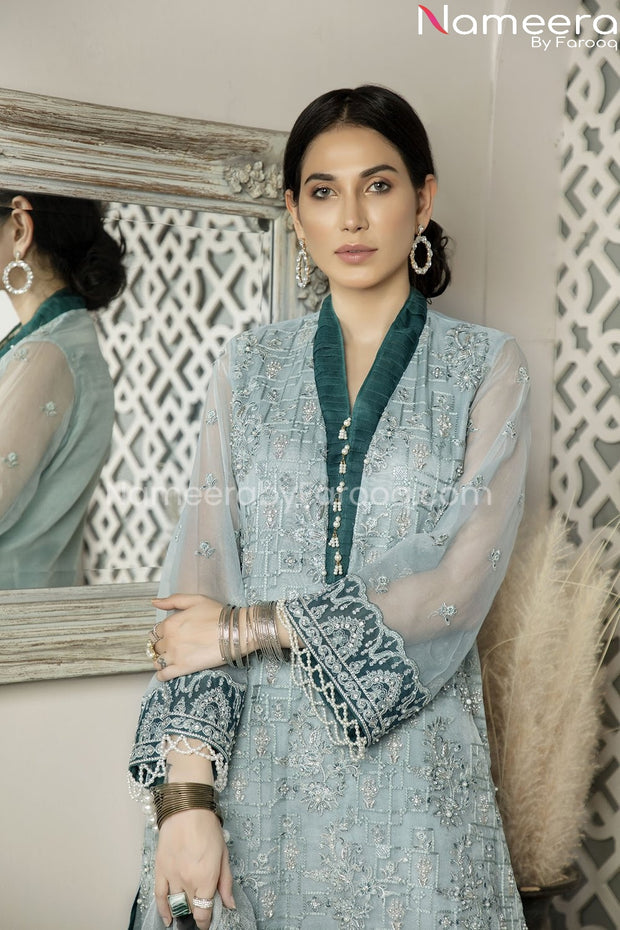Pakistani Chiffon Shirt Dress with Choridar Pajama Neckline Look